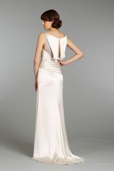 Style AV9367 > Bridal Gowns, Wedding Dresses > by Alvina Valenta > Shown Ivory Charmeuse Sheath with Beaded Illusion V-neckline front & back & Jewelled Appliqués at back shoulder (back)