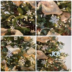 A ribbon is the perfect solution to concealing those bare spots in your Christmas tree while also adding a touch of color and texture. Christmas Tree Decorations Ribbon, Unique Christmas Trees, Alternative Christmas Tree, Ribbon On Christmas Tree, Christmas Lights, Christmas Wreaths, Christmas Games, Gold Christmas, Rustic Christmas