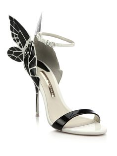 Sophia Webster Chiara Butterfly Patent Leather Sandals in Black (black-white)