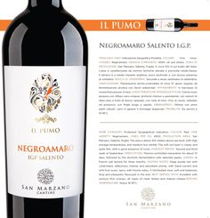#Negroamaro #Salento I.G.P.: Colore rosso porpora con riflessi nero-violacei; profumo intenso e persistente, con sentori di ribes nero e frutti di bosco, speziato, con note di timo. #Vino di corpo, vellutato ed armonico, con finale lungo e sapido. Negroamaro Salento I.G.P.: Deep purple red with violet-black reflections; intense and persistent aroma, with black-currant and wild fruit scent, spicy, with thyme notes. A full-bodied #wine, soft and balanced, long and pleasantly flavoured in the…