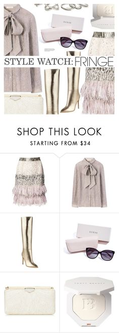 """Style Watch: FRINGE!"" by simplynatonya ❤ liked on Polyvore featuring Matthew Williamson, Tory Burch, GUESS, Kendra Scott, fringe, metallicshoes, skirtandboots, stylewatch and bowtieblouse"