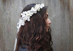 Bridal Flower Crown.  Ivory Flower Headdress by BloomDesignStudio, $52.00