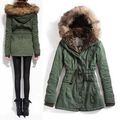 Green fur lined parka. I need this in my life, so adorable :)