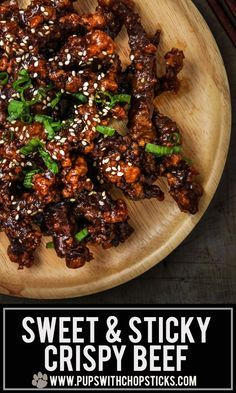 and Sticky Crispy Beef Super crispy beef tossed with a sweet and sticky sauce - better than take out!Super crispy beef tossed with a sweet and sticky sauce - better than take out! Comida Filipina, Asian Beef, Asian Flank Steak, Comida Latina, Asian Cooking, Beef Dishes, Meat Dish, The Best, Food And Drink