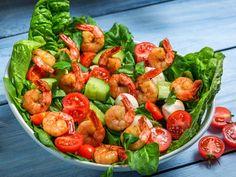 Scharfe-Garnelen an Mozzarella-Tomaten-Salat