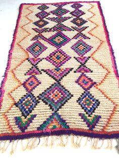 """AZILAL Moroccan Rug 5'1 x 8"""" Lozenge Diamond Tasseled Pure Wool Vintage Mid Century Modern Henri Matisse"""
