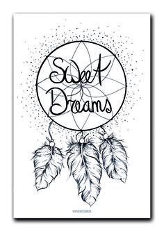 Poster Sweet dreams A4. Een handgetekend ontwerp van een dromenvanger met quote Sweet dreams. Poster is gedrukt op sulfaat karton. Ontwerp is ook verkrijgbaar als ansichtkaart.