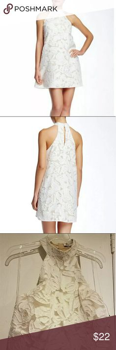 White floral lace dress Beautiful white floral lace dress. Halter style with A-line fit, and small keyhole in the back. NWT. Brand is DO+BE . Sorry no trades.   Tags: LF - missguided  - nasty gal - free people  - anthropologie - urban outfitters  - DO+BE Dresses Mini