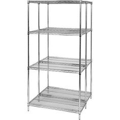"""Quantum Storage Systems WR74-1442C Starter Kit for 74"""" High 4-Tier Wire Shelving Unit, Chrome Finish, 14"""" Width x 42"""" Length x 74"""" Height by Quantum Storage Systems. $169.99. Genuine Quantum modular wire systems offer a unique combination of shelf and post sizes in a variety of finishes to compliment any application. The split sleeve and grooved numbered posts allow for easy and quick assembly. The all welded shelf construction is supported with architectural wire trusses to prov..."""