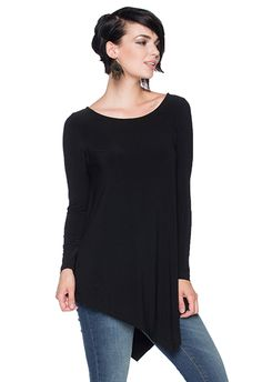 MS816 - Long Sleeve Top W/ Angled Hems  - MS816 - Long Sleeve Top With Angled Hems