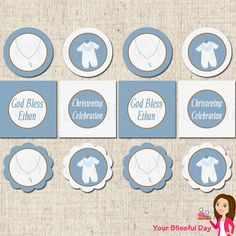 PRINTABLE Baby Boy Christening/Baptism Party Circles (Personalized) on Etsy, $8.00
