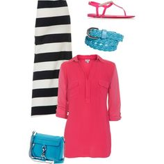 Blue & Pink, created by sandy-simmons on Polyvore