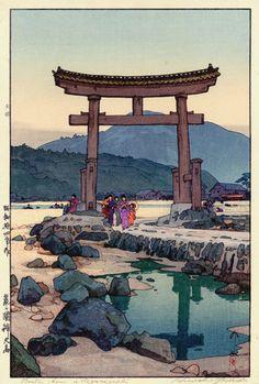Benten Shrine in Negumigaseki  by Hiroshi Yoshida, 1939