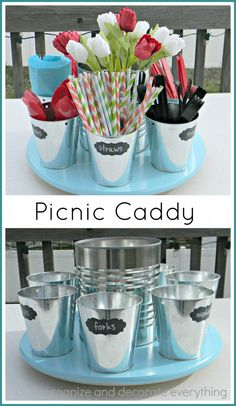 Lazy Susan Picnic Caddy for easy Outdoor BBQ Dining Deco Champetre, Outdoor Parties, Picnic Parties, Outdoor Entertaining, Picnic Time, Summer Parties, Dinner Parties, Party Hacks, Party Ideas
