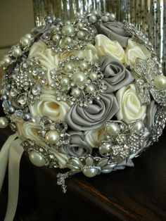 Silver & Antique White Brooch and Crystal Bridal Bouquet The Gail on Etsy, $425.00