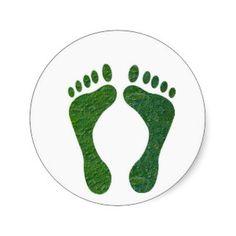 NVN36 navinJOSHI Green FOOTprint EarthDay Warming Round Stickers