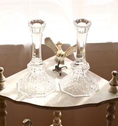 vintage crystal candlestick holders by TheGinghamOwl on Etsy, $30.00