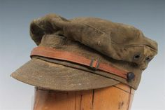 Scarce First World War British khaki trench cap with leather chinstrap and embossed leather butto British Khaki, Character Ideas, First World, World War, Trench, Cap, Leather, Baseball Hat