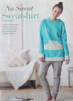 """free pattern download (instructions are in the magazine) """"no sweat sweatshirt"""" sew news august september 2015"""