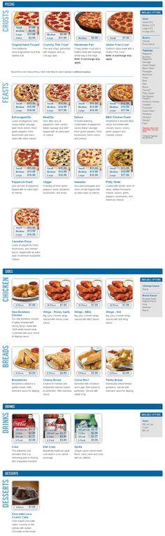 Dominos Pizza Menu
