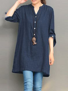 Casaul Loose V-neck Buttons Long Sleeve Women Blouses Denim Blouse, Long Blouse, Denim Shirt, Shirt Blouses, Georgia, Plaid Shirt Women, Baggy Tops, Online Shopping For Women, Blouse Styles