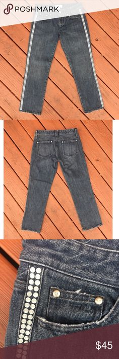 Armani Exchange Riveted Cropped/Ankle Jeans Armani Exchange Riveted Cropped/Ankle Jeans. Bluish/grey wash and embellished/riveted down the side seam. Perfect for spring and summer! Size 2. A/X Armani Exchange Jeans Ankle & Cropped