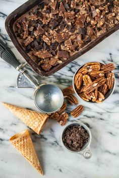 Vegan praline crunch ice cream is kicked up a notch with chunks of chocolate and swirls of creamy peanut butter!