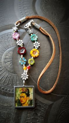 Frida Kahlo Flowers Frida Kahlo Flowers Glass Picture Pendant Leather by YuccaBloom