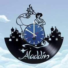 Aladdin and Genie Handmade Vinyl Record Wall Clock Fan gift Family Tree Wall Sticker, Old Vinyl Records, How To Make Wall Clock, Vinyl Gifts, Vinyl Art, Aladdin, Mickey Mouse, Star Wars, Record Wall