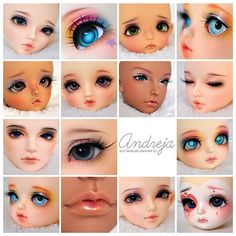 2012 April Commissions by AndrejA on DeviantArt Fairy Dolls, Blythe Dolls, Fondant Figures Tutorial, Doll Painting, Eye Tutorial, Clay Figures, Doll Repaint, Anime Eyes, Polymer Clay Art