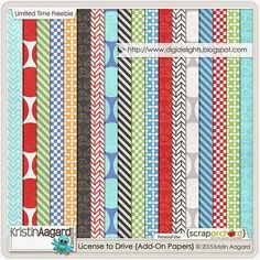 Quality DigiScrap Freebies: License to Drive paper pack freebie from Kristin Aagard