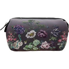 Grey Floral Wash Bag