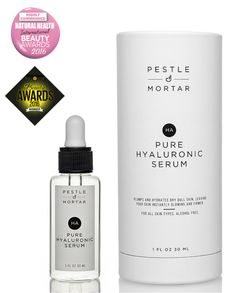 Pestle & Mortar Pure Hyaluronic Serum hydrates and soothes even the most sensitive skin while smoothing fine lines and restoring youthful elasticity.