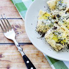 Ravioles de poulet, sauce gorgonzola