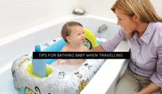 Bathing baby on vacation - just one more thing to think about! Here are some ideas to make it easier for you. Bathing, Parenting, Babies, Vacation, Tips, Bath, Babys, Vacations, Advice