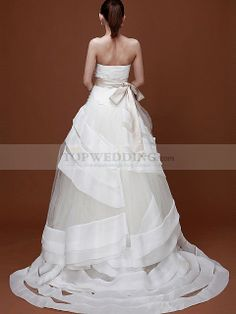 Strapless Tulle Wedding Dress with Bowknot Tiered Sash 1008017