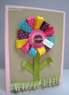 Ribbon Flower by Bluemoon - Cards and Paper Crafts at Splitcoaststampers Ribbon Flower. One way to use up all those scraps of ribbon! Ribbon Cards, Diy Ribbon, Ribbon Flower, Crafts With Ribbon, Ribbon Hair, Fabric Ribbon, Hair Bows, Tarjetas Stampin Up, Stampin Up Cards
