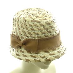 Straw Hat for Women - Mad Men Fashion Hat - Vintage Style Fedora Hat - Upcycled Straw - White and Tan. $225.00, via Etsy.