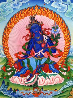 """ARYA TARA ZHENGYI MITHUBMA: """"Homage, Mother, destroying the magical devices of outsiders with the sounds of TRET and PHAT, trampling with her right leg bent and the left extended, ablaze with a raging wildfire."""""""