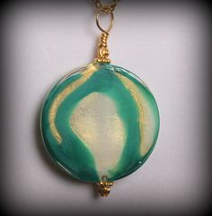 Green Swirl Necklace  Green and Gold Necklace  by SunsetJewelsCo