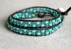 Turquoise Boho beaded leather wrap bracelet 2x double Wrap