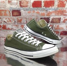 41e1294276d7 Converse All Star Mens Army Green Trainers Sz 9 Unisex Shoes EU 42.5 US 11  Women for sale online
