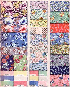 1940s fabric samples quilt and bedding colors