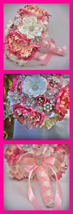 """Savannah"" by Blue Petyl Bouquets #wedding #broochbouquet #jeweledflowerbouquet #bridalbouquet #pink"