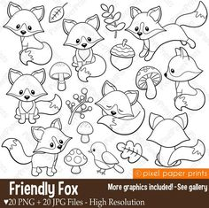Friendly Fox - Digital stamps - Fox stamps - Line art - Bullet Journal Doodles - Doodle Drawings, Easy Drawings, Photoshop Elementos, Line Art, Digital Art Programs, Friendly Fox, Cute Fox, Drawing Base, Clear Stamps