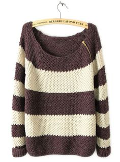 Coffee White Striped Long Sleeve Zipper Sweater  ($39, originally $46.8) http://www.udobuy.com/goods-9941.html#.UgL7odL8m9M