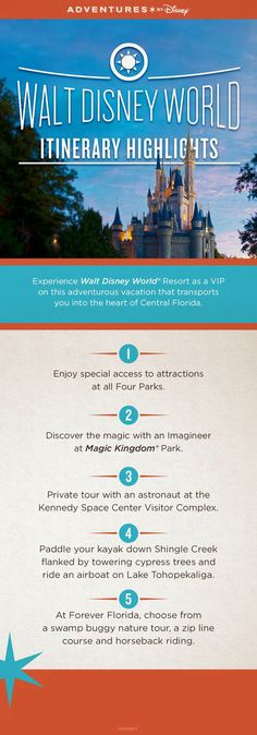 Experience the magic of Walt Disney World, venture in the natural waterways of Old Florida and spend the day with an astronaut at the Kennedy Space Center Visitor Complex on the Adventures by Disney Central Florida vacation!