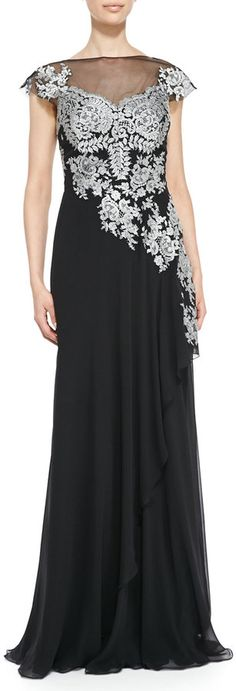 Rickie Freeman For Teri Jon Cap-Sleeve Lace Illusion-Bodice Gown on shopstyle.com