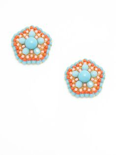 Miguel Ases // Turquoise Flower Stud Earrings