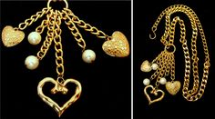 Beautiful vintage hearts metal belt - Old  faux pearl dangling open heart gold…